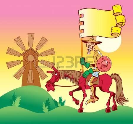 En la ilustración, Don Quijote a caballo, va a windmills.Illustration hecho en estilo de dibujos animados.