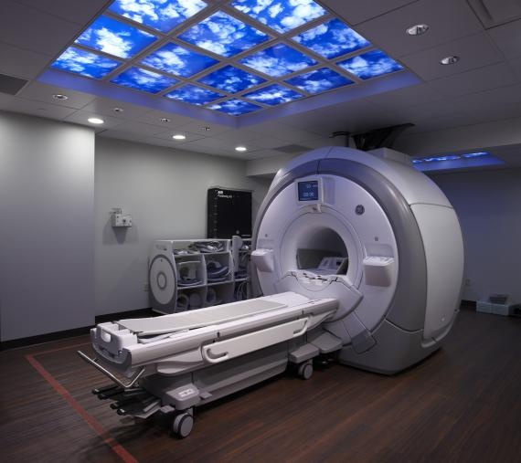 illuminated sky imagery in the MRI suite
