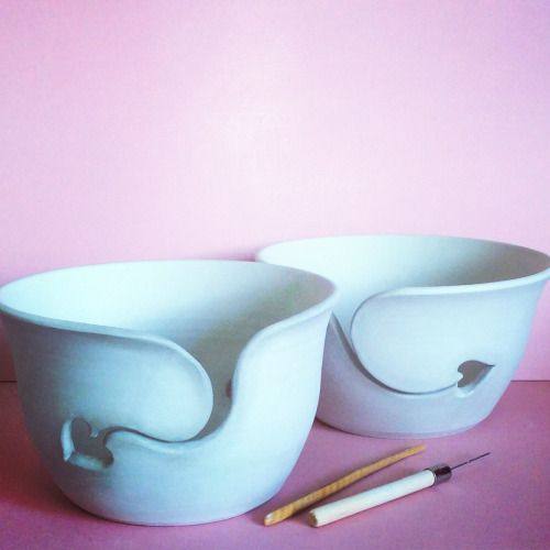 Unfired simple heart yarn bowls.  earthwoolfire@gmail.com