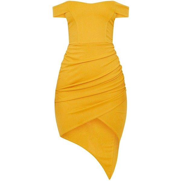 Mustard Bardot Ruched Detail Asymmetric Hem Midi Dress ($30) ❤ liked on Polyvore featuring dresses, mustard yellow midi dress, shirred dress, shirring dress, asymmetrical hem dresses and mustard dress
