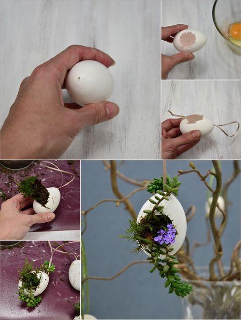 Hängende Blumentöpfchen aus Eierschalen