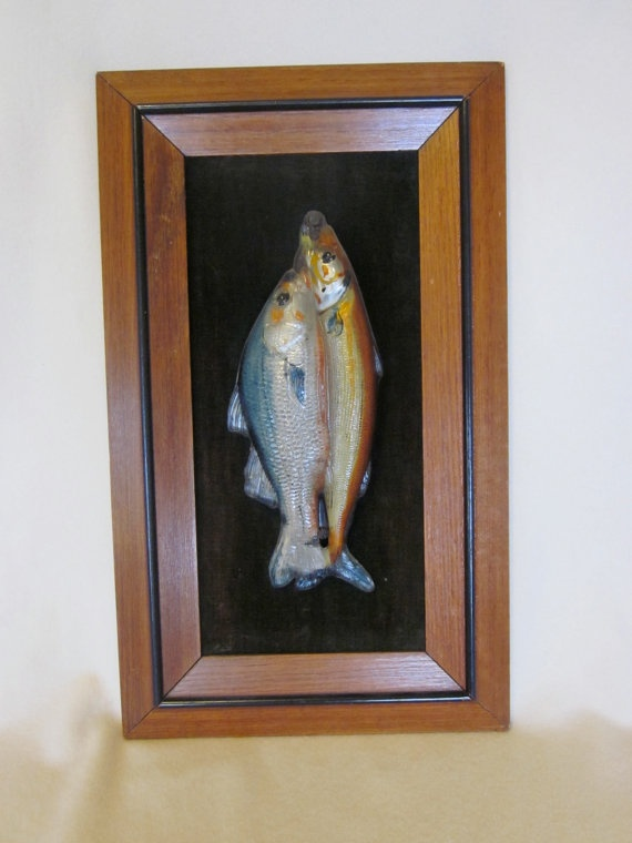 1880 39 s reverse painted glass fish on wall plaque atterbury for Painted glass fish