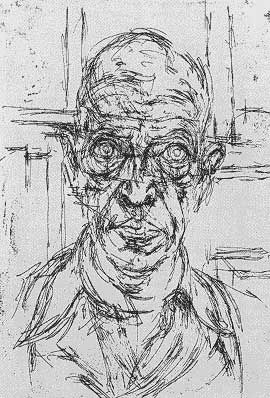 Expressive drawing by Alberto Giacometti