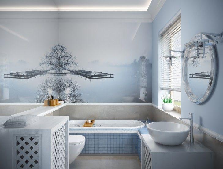 Projekt, aranżacja, Wystrój, Wystrój łazienki, projekt aranżacji łazienka, drewno,  Projekt aranżacji, lustro, wanna, mozaika, błękitna łazienka, styl hampton, hampton, aranżacje łazienka, szkło, tissu, ściany, wykończony