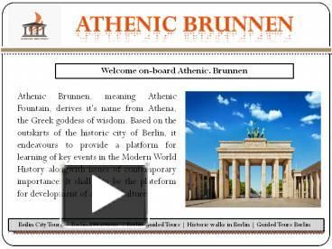 Athenic Brunnen will help you out to get the best places to visit in Berlin? We offer you the short term learning modules on History of Germany and History of Berlin wall. Enjoy the best Berlin Attractions with our history learning modules. Get the best from our walking tours in Berlin and berlin guided tours. For more information subscribe to our newsletter. #Beilin_City_Tours #Berlin_Attractions #Berlin_Guided_Tours #Berlin_Wall_Tours #Historical_Berlin_Tour #History_Of_Germany…