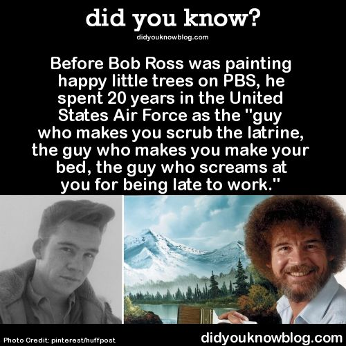 """The job requires you to be a mean, tough person, and I was fed up with it.""-Bob Ross (My take away- it's never too late to change for the better.)"