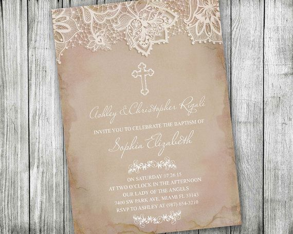 46 best catholic and christian invitations images on pinterest first communion invitations pink vintage lace baptism invitation printable confirmation christening catholic religious ceremony diy solutioingenieria Choice Image