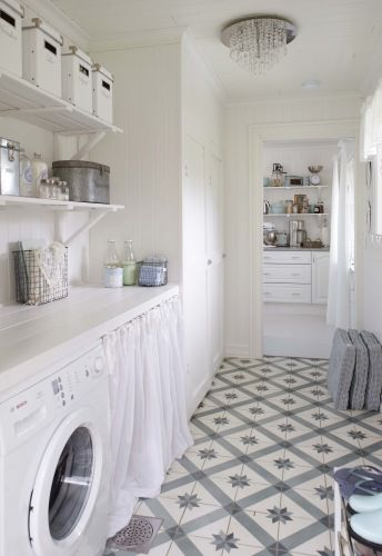 Beautiful floor tiles. I like the curtain in place of doors - good for cost saving instead of door units.