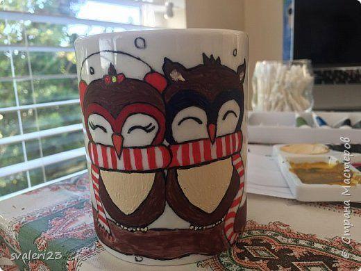 Present by yourself& Owls mug. Lesson Роспись керамической кружки. Мастер класс