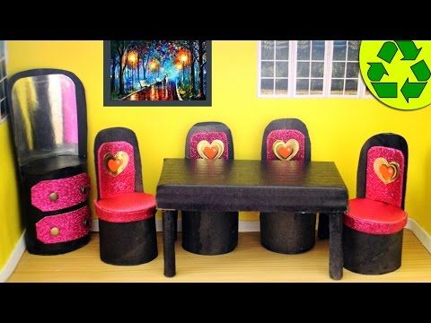 DIY | Doll Toilet Paper Roll Furniture - YouTube