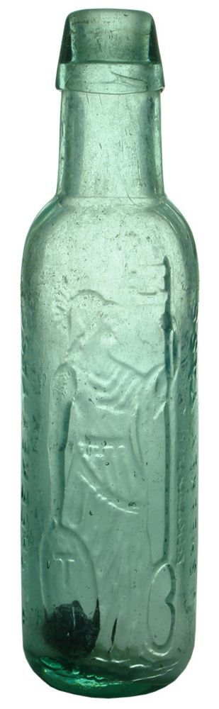 Embossing: T. J. Sheekey Yass / (Britannia or Female Warrior holding a Key and a Shield bearing TJ Initials) / Registered Trade Mark / T. J. Sheekey Yass. Smooth base. (New South Wales) Type: Aerated Water Lamont /  Era: 1890s /  Variety: Applied top. Aqua. 10 oz. /  Height: 226 mm /  Condition: Very Good. Polished. The outside has been polished anyway. The top of the lip is very smooth and may have just been ground down although if it has been its barely indistinguishable from normal. Hazy…