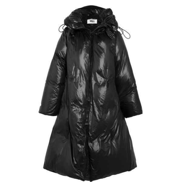 MM6 Maison Margiela Convertible shell down coat (£1,050) ❤ liked on Polyvore featuring outerwear, coats, black, feather coat, padded coat, leather-sleeve coats, colorblock coat and puffer coat