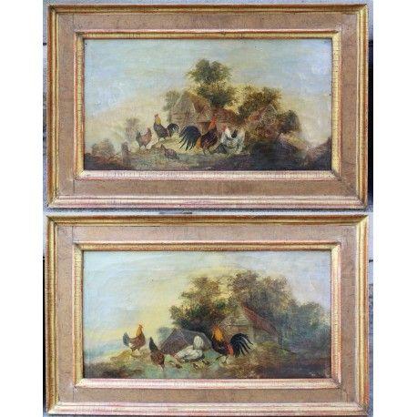 Coppia dipinti olio su tela raffiguranti paesaggi con scene campestri realizzati in Francia alla fine dell'800.