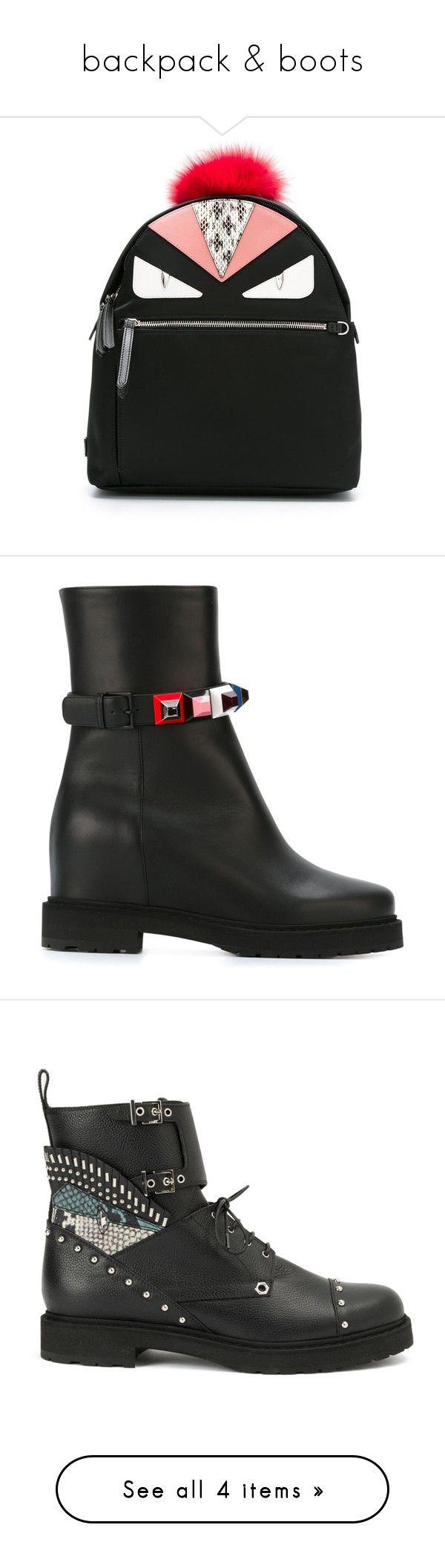 """backpack & boots"" by jofrebcn ❤ liked on Polyvore featuring bags, handbags, black, fendi purses, fendi handbags, fendi, fendi bags, shoes, boots and ankle booties"