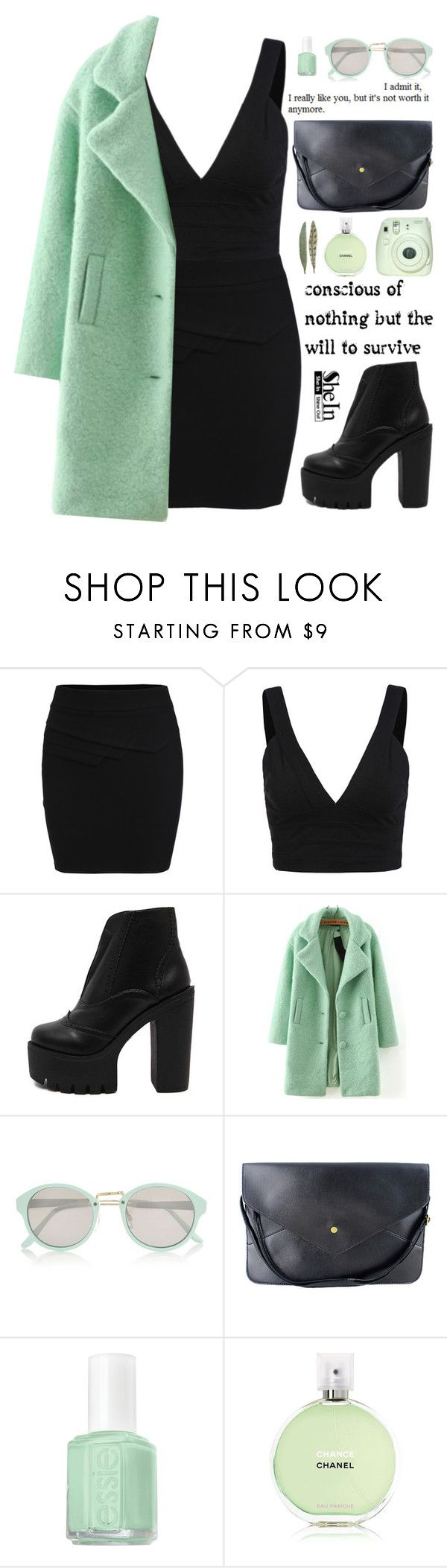 """""""SheIn 7"""" by scarlett-morwenna ❤ liked on Polyvore featuring WithChic, River Island, Essie, Chanel, vintage, women's clothing, women, female, woman and misses"""