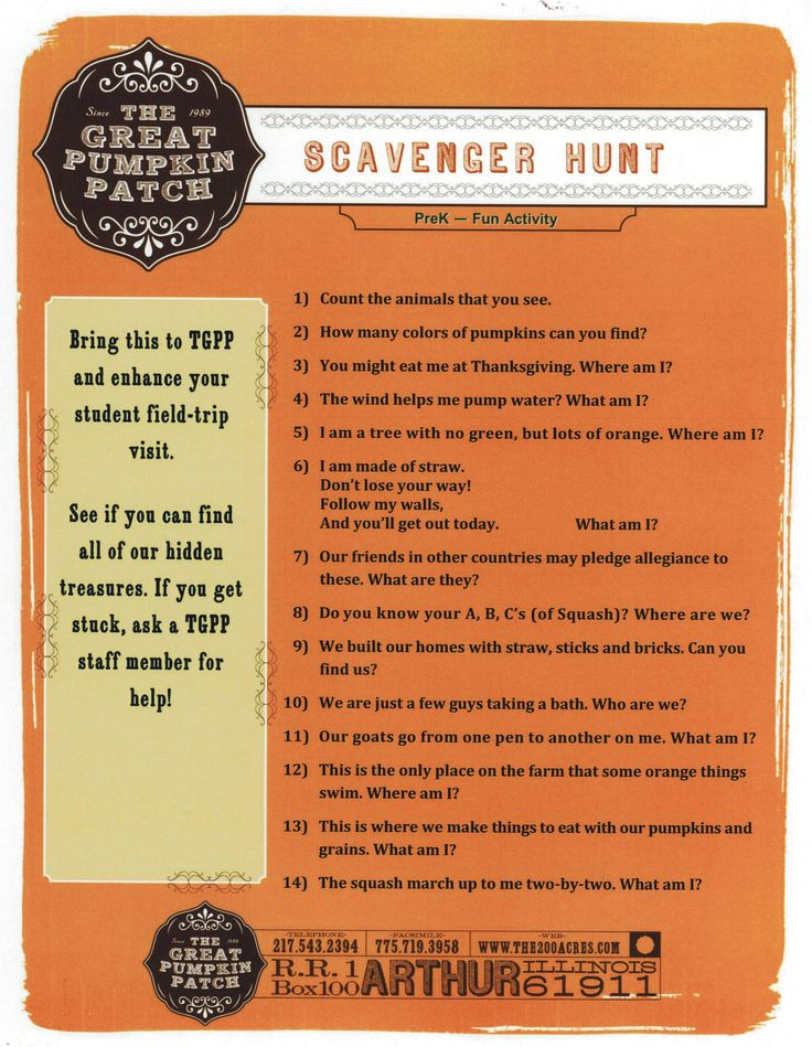 This scavenger hunt is a TGPP original and is a great  activity for any age (we have even had new staff complete it)!!  www.the200acres.com