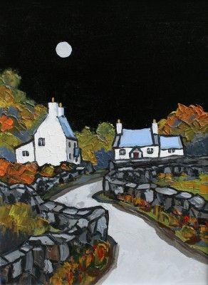 British Artist David BARNES-Moonlight on Llyn