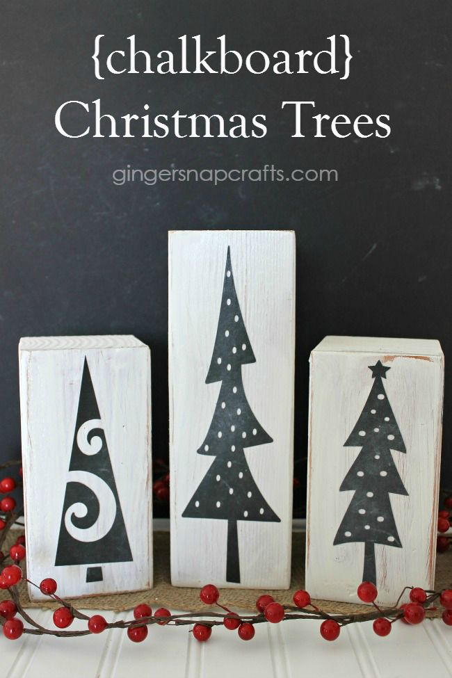 Chalkboard paint Christmas blocks