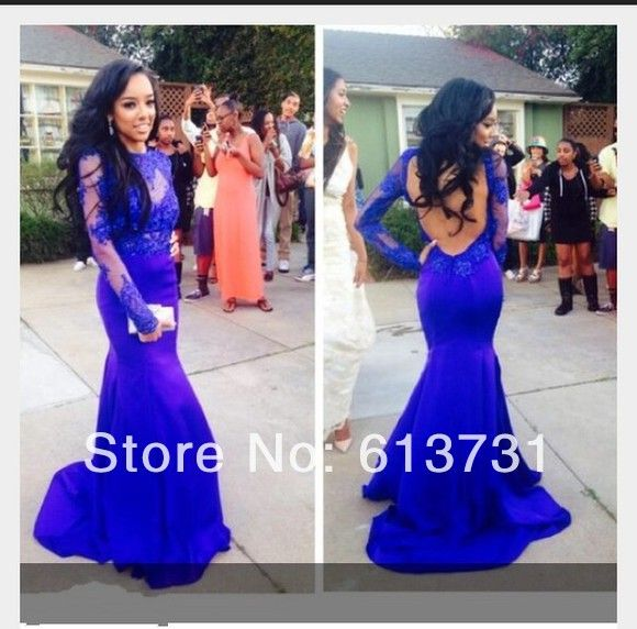 2014 New Fashion Elegant High Neck Mermaid Royal Blue Satin Prom Dresses Long Sleeves Appliques Lace Evening Gown Keyhole Back