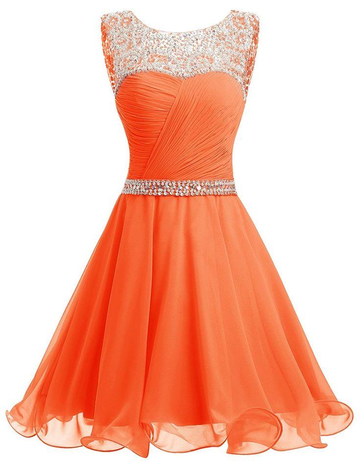 Dresstells® Short Chiffon Open Back Prom Dress With Beading Homecoming Dress Orange Size 10