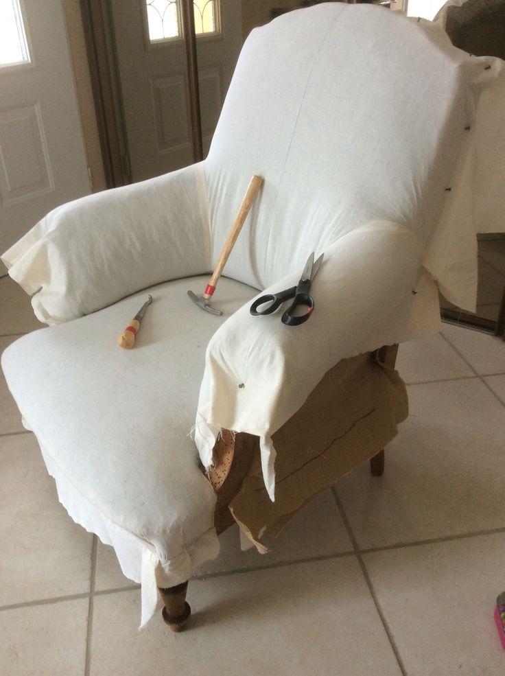 Mise en toile blanche du dossier - fauteuil anglais