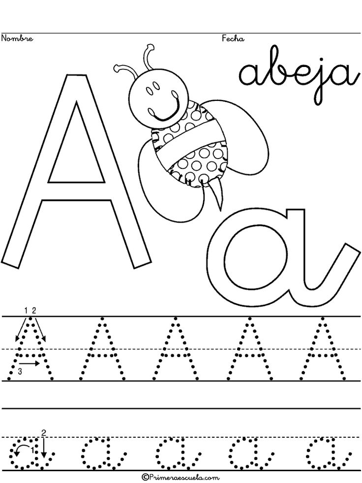 Caligraf a escritura escolar abecedario letra a abeja for Para desarrollar una entrada practica