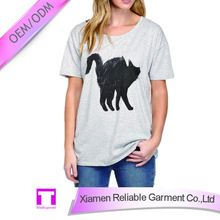 OEM women comfortable crew neck cat printing t shirt