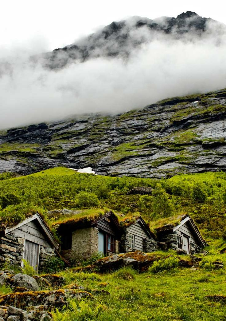 A valley on the west-coast of Norway. Its actually not cabins but tiny farms - where people used to live during the summer (to take care of their craddle stock). Its a truly amazing place