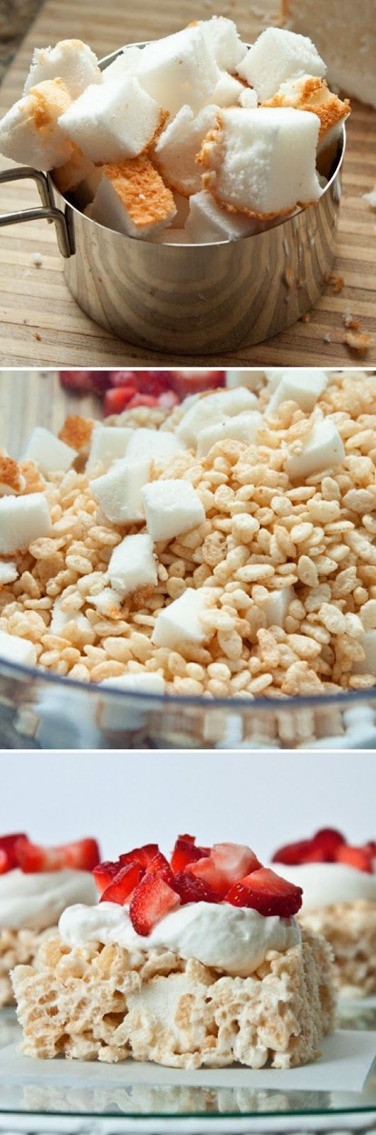 Strawberry Shortcake Rice Krispy Squares OMG!!! Ingredients 2 1/2 c. Rice Krispie Cereal 1 heaping cup angel food cake squares 2 1/4 c. marshmallows 1 1/2 tbsp butter 1 c whipping cream 2-3 tbsp sugar (depending on how sweet you like it) 1 tsp vanilla 2 cups diced strawberries