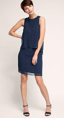 Esprit / Fließendes Layer-Chiffon-Kleid