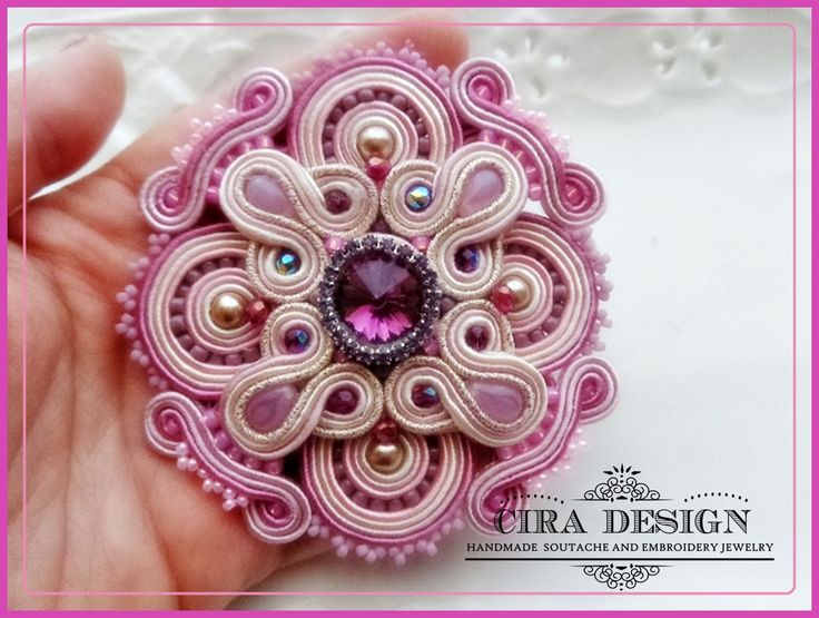Soutache brooch pink rose and lilac with por mysweetcrochet en Etsy