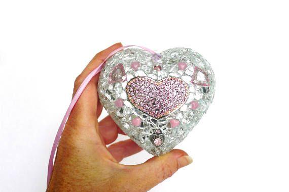 Herz Wanddeko Fensterschmuck Mosaik Herz Mixed Media Art #mosaic #heart #handmade #lonasart
