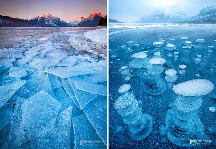 Замерзшие озера и водоемы по всему миру. Озеро Макдональд, США, и озеро Абрахам, Канада