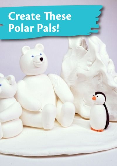 model magic craft ideas sculpt polar bears and penguins with crayola 4980