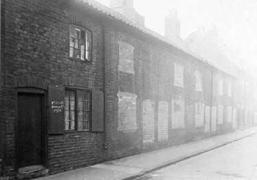 Numbers 20 - 36 Bromley Street, one of the many slum streets between Nottingham City Centre and Sneinton. Taken in 1912.