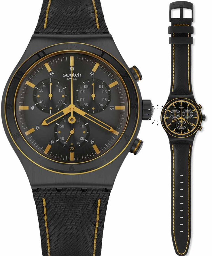 SWATCH Irony Chrono Noho Black Leather Strap Μοντέλο: YVB400 Τιμή: 140€ http://www.oroloi.gr/product_info.php?products_id=33906