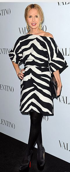Who made Rachel Zoe's black platform pumps, zebra dress, and clutch handbag that she wore in Beverly Hills?