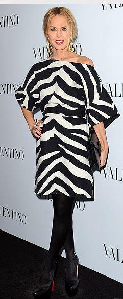 Who made Rachel Zoe's black platform pumps, zebra dress, and clutch handbag that she wore in Beverly Hills?