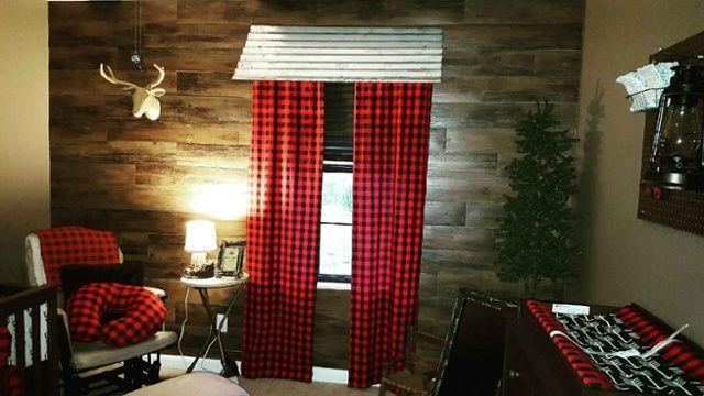 How to make your own lumberjack themed window treatment!