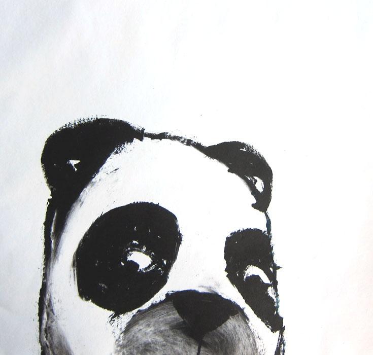 panda, 2010, monotype print
