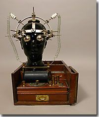 This is the electric helmet by Energo of Turin, Italy, and the faradic battery was by S. Maw Son & Thompson, London.