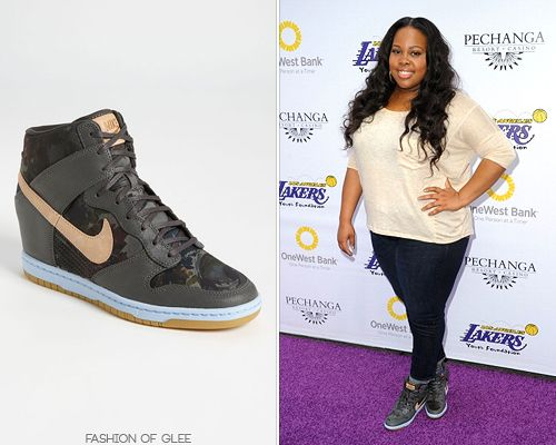 Amber Riley attends the Lakers Casino Night fundraiser, Los Angeles, March 10, 2013  Nike x Liberty 'Dunk Sky High' Wedge Sneaker - $130.00 (white)