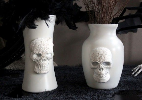 DIY PB-Inspired Skull Vases made from items at the Dollar Store