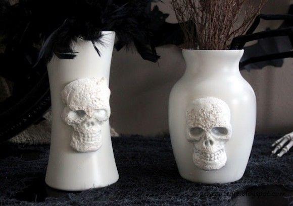 PB Inspired Skull Vases  Vase, $1  Foam skull, $1  Glue, on hand  Spray paint, on hand or $1 and up