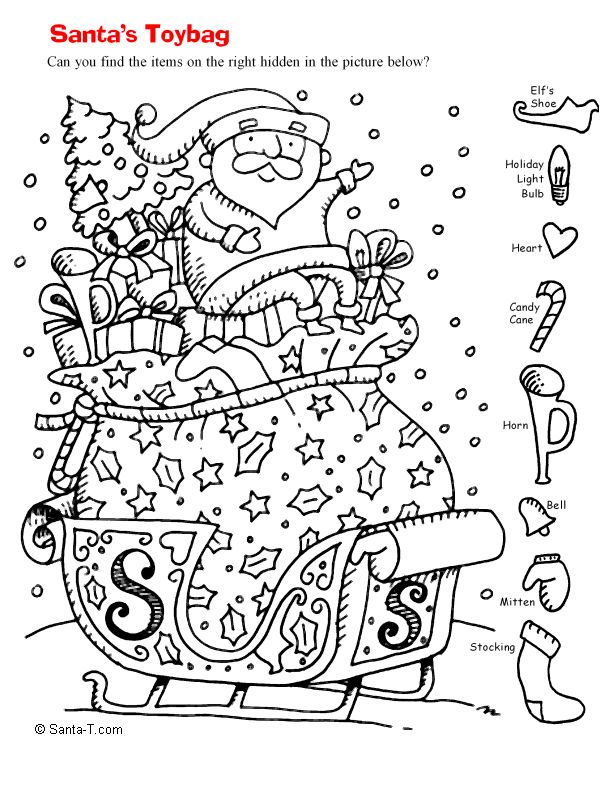 Christmas hidden pictures free new calendar template site for Find the hidden objects coloring pages