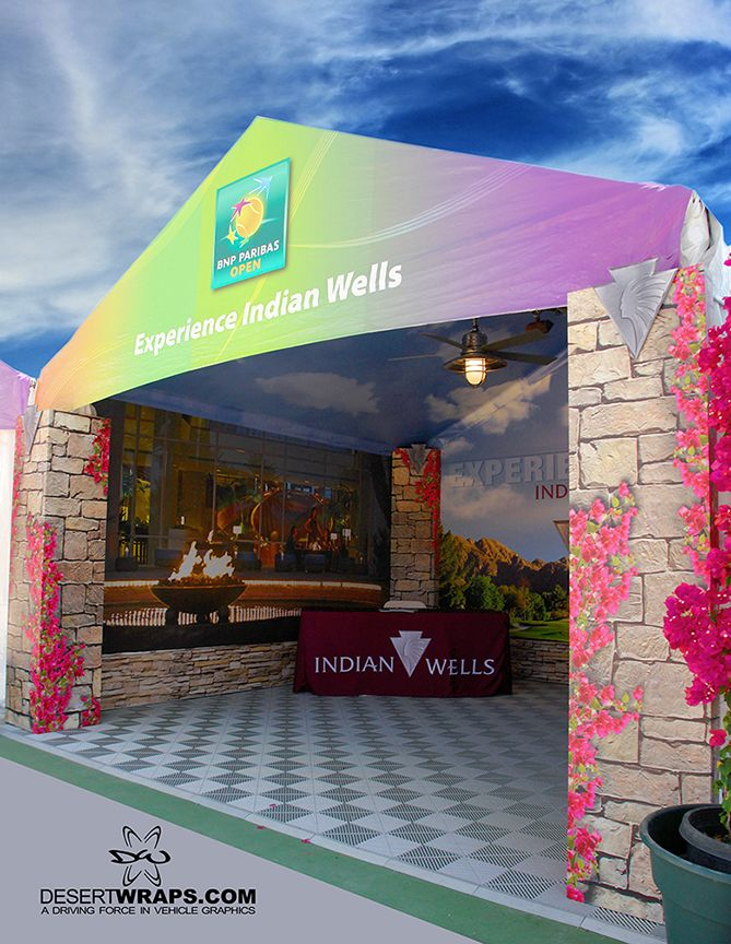 Event tent for the city of Indian Wells, CA by DesertWraps.com. 760-935-3600. Servicing Palm Springs, Cathedral City, Rancho Mirage, Palm Desert, La Quinta, Indian Wells, Indio, Coachella Valley.