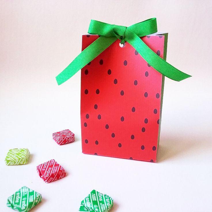 Watermelon favor bag, printable box. Tropical party. Bolsa  sandía imprimible…