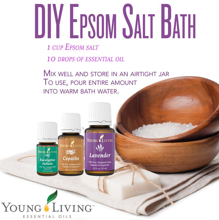 DIY Epsom Salt Bath Ingredients: 1 cup Epsom salt 10 drops of essential oil--we suggest Lavender, Copaiba, or Eucalyptus Radiata Mix well and store the bath salts in an airtight jar. To use, pour entire amount into warm bath water. Get your oils plus support here---> WWW.THESAVVYOILER.COM
