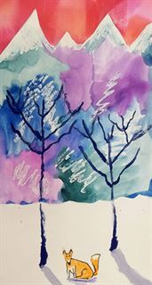 Artsonia Art Gallery - Winter Street Banner - Mountain Landscape