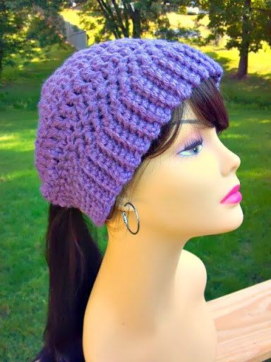 Free Crochet Pattern Ponytail Hat : Hand Crocheted Womens Ponytail Hat in Dusty Purple with ...